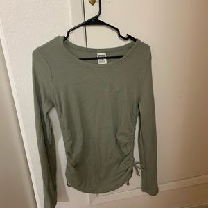 PINK Olive Green Waffle Runched Side LS Tee